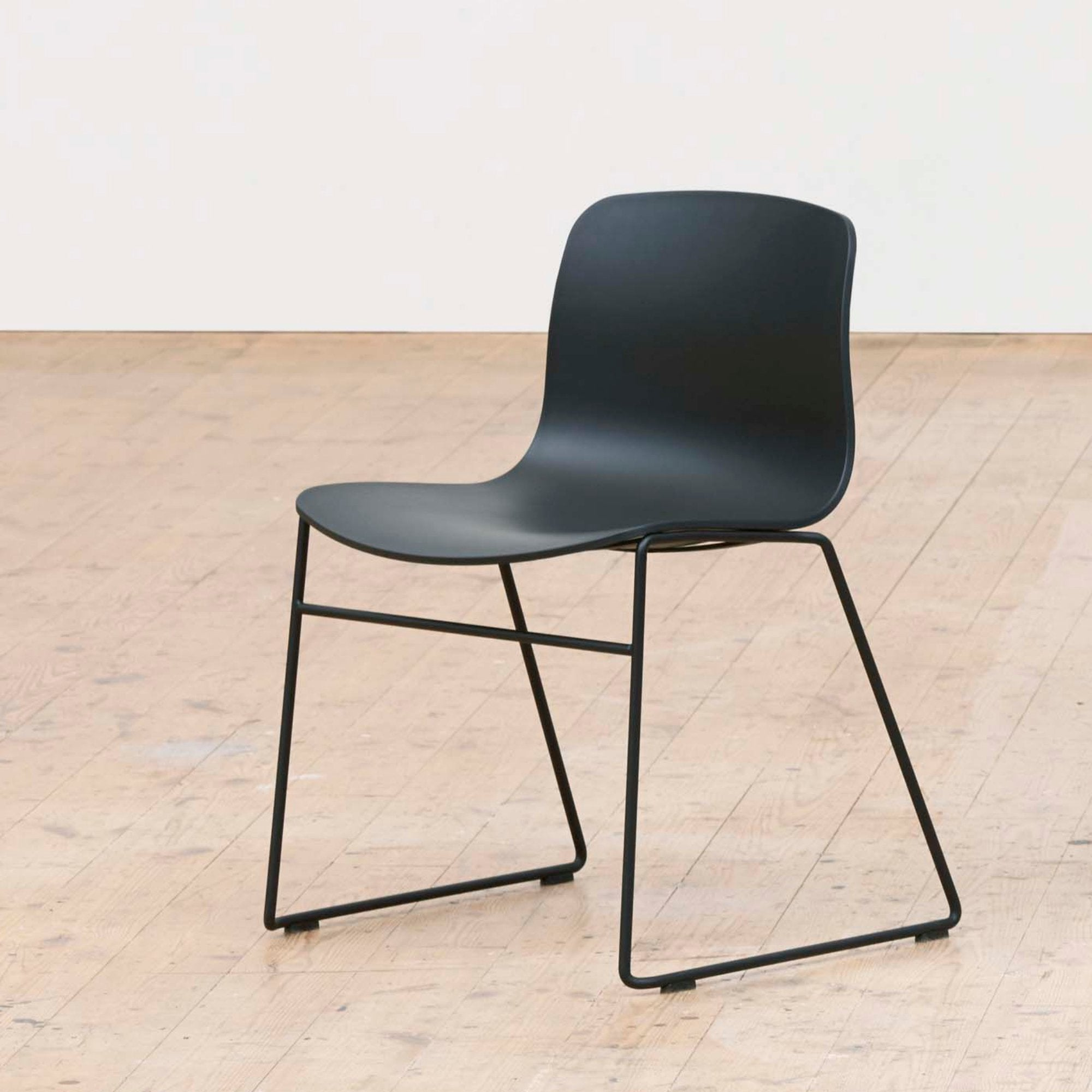 HAY About A Chair AAC 08 Black Stackable Chair with Black Powder Coated Base