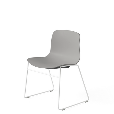 HAY About A Chair AAC 08 Concrete Grey Stackable Chair with White Powder Coated Base