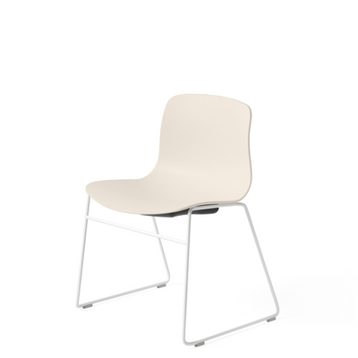 HAY About A Chair AAC 08 Cream White Stackable Chair with White Powder Coated Base
