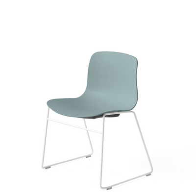 HAY About A Chair AAC 08 Dusty Blue Stackable Chair with White Powder Coated Base
