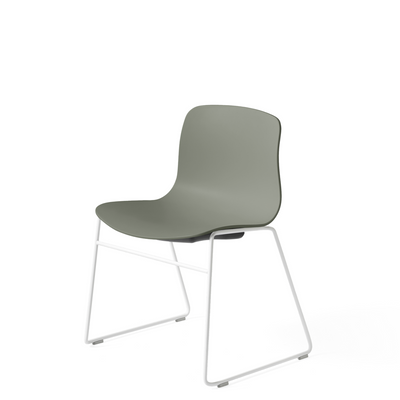 HAY About A Chair AAC 08 Dusty Green Stackable Chair with White Powder Coated Base
