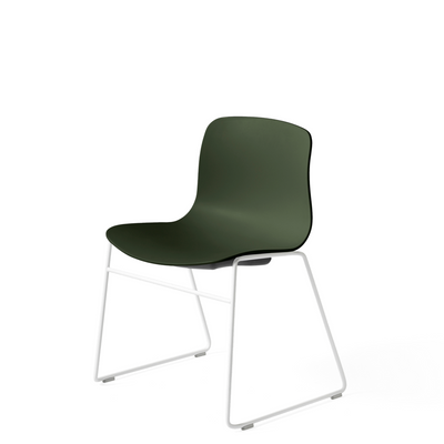 HAY About A Chair AAC 08 Green Stackable Chair with White Powder Coated Base