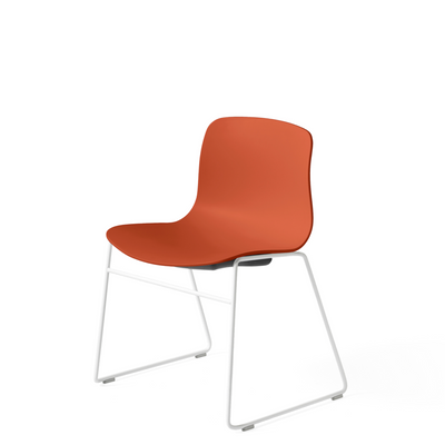 HAY About A Chair AAC 08 Orange Stackable Chair with White Powder Coated Base