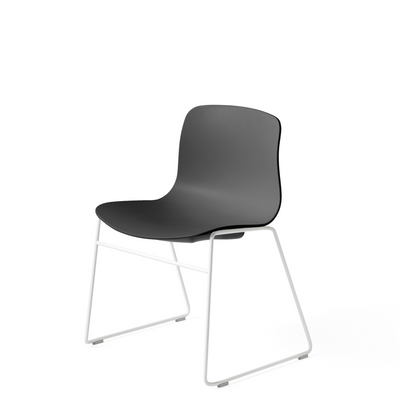 HAY About A Chair AAC 08 Soft Black Stackable Chair with White Powder Coated Base
