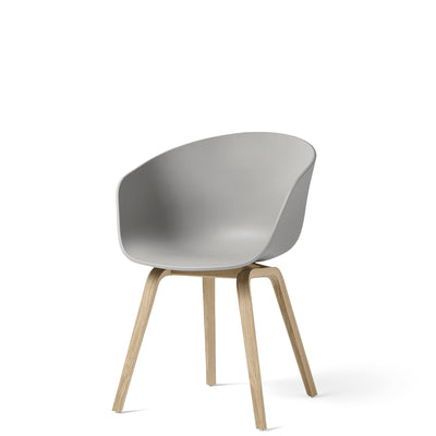 HAY About A Chair AAC22 Concrete Grey with Matt Lacquered Oak Base