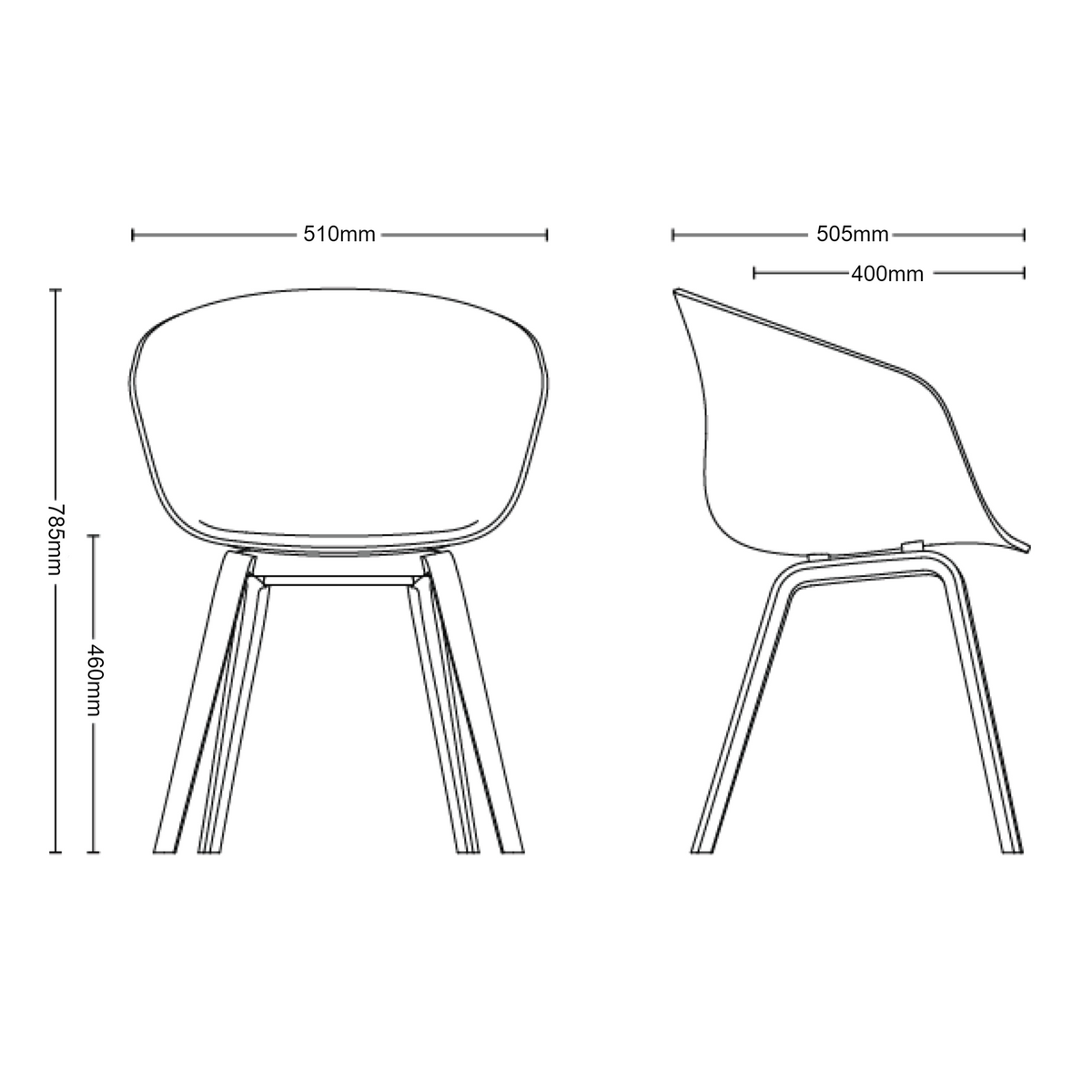Dimensions for HAY About A Chair AAC22