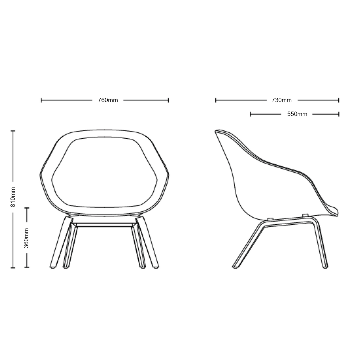 Dimensions for HAY About A Lounge Chair AAL83