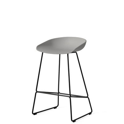 HAY About A Stool AAS38 Concrete Grey with Black Powder Coated Solid Steel Base