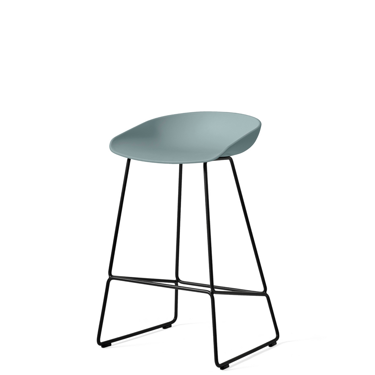 HAY About A Stool AAS38 Dusty Blue with Black Powder Coated Solid Steel Base