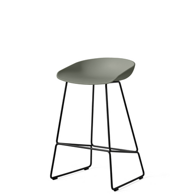 HAY About A Stool AAS38 Dusty Green with Black Powder Coated Solid Steel Base
