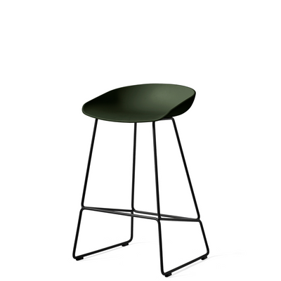 HAY About A Stool AAS38 Green with Black Powder Coated Solid Steel Base