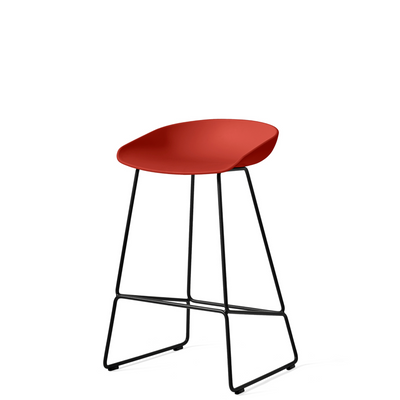 HAY About A Stool AAS38 Warm Red with Black Powder Coated Solid Steel Base
