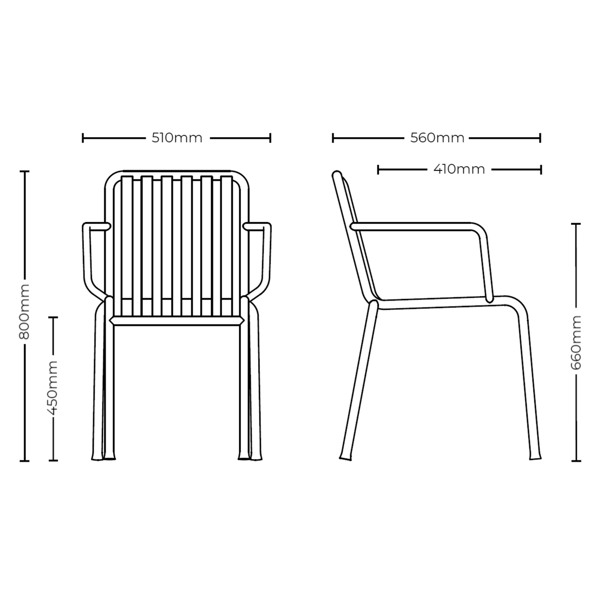 Dimensions for HAY Pair of Palissade Armchairs Office
