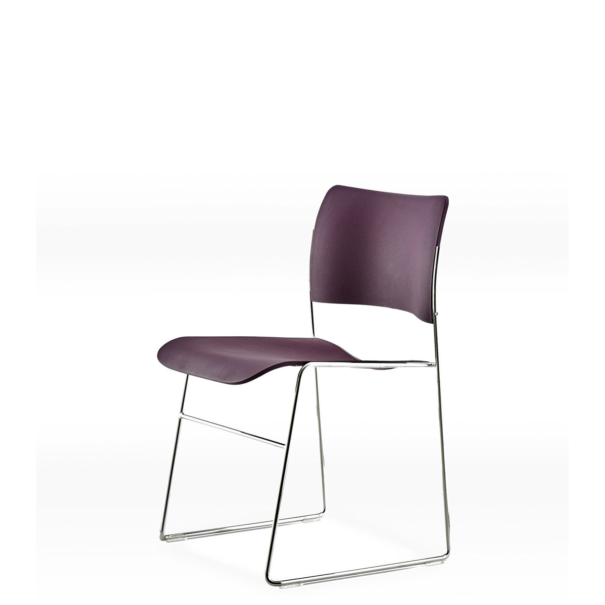 HOWE Plastic Resin Aubergine Chair with Chrome Base by David Rowland