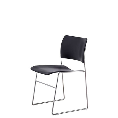 HOWE Plastic Resin Black Chair with Chrome Base by David Rowland