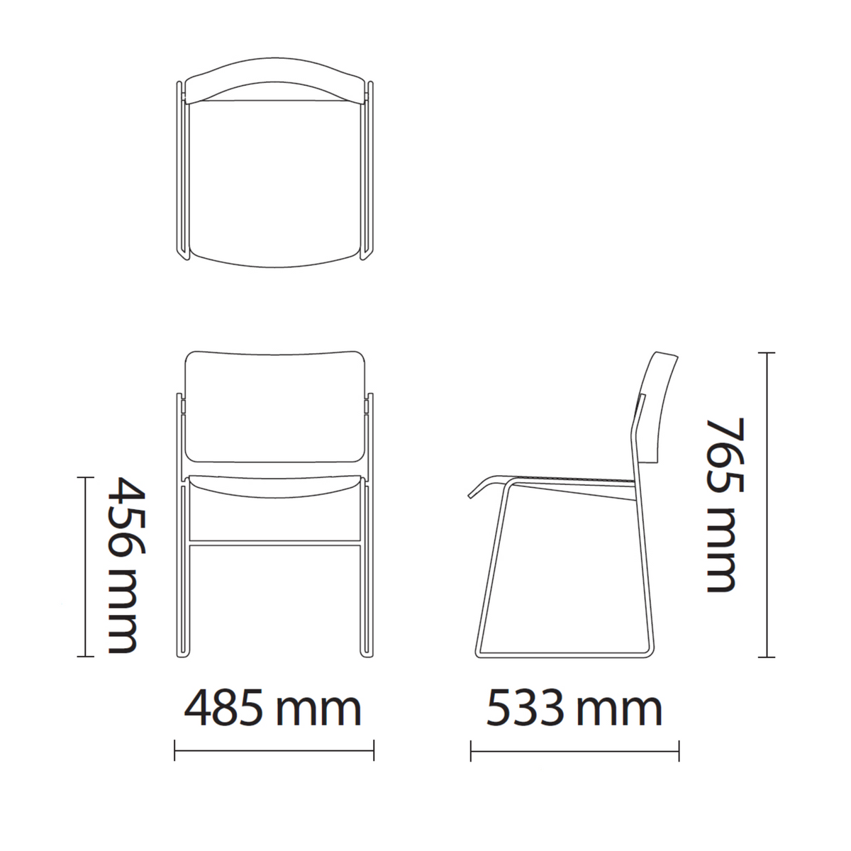 Dimensions for HOWE Plastic Resin Chair with Chrome Base by David Rowland
