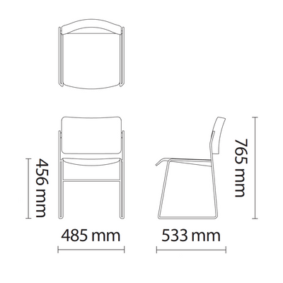Dimensions for HOWE Black Leather Office Side Chair