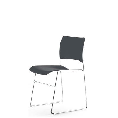 HOWE Plastic Resin Grey Chair with Chrome Base by David Rowland