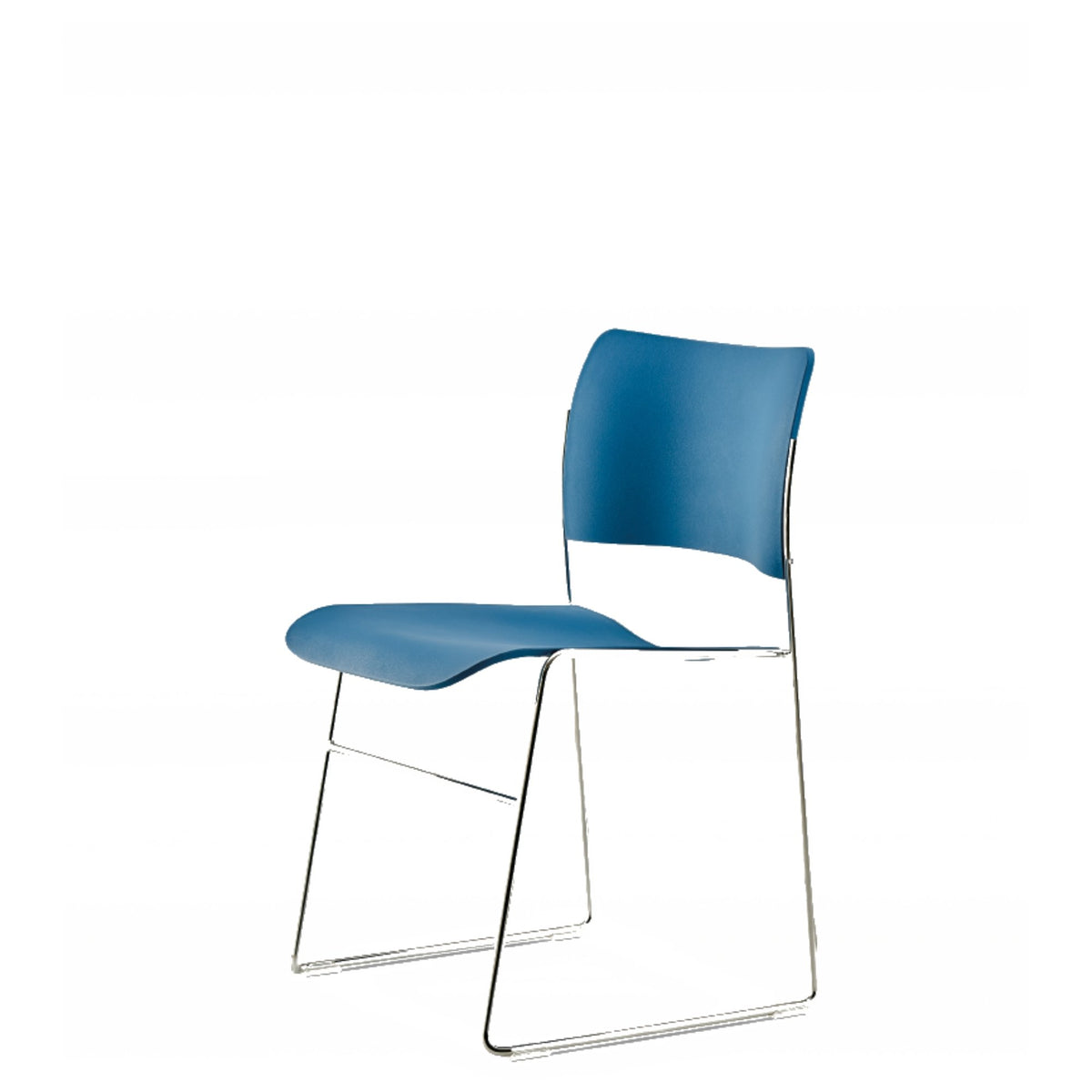 HOWE Plastic Resin Marine Blue Chair with Chrome Base by David Rowland