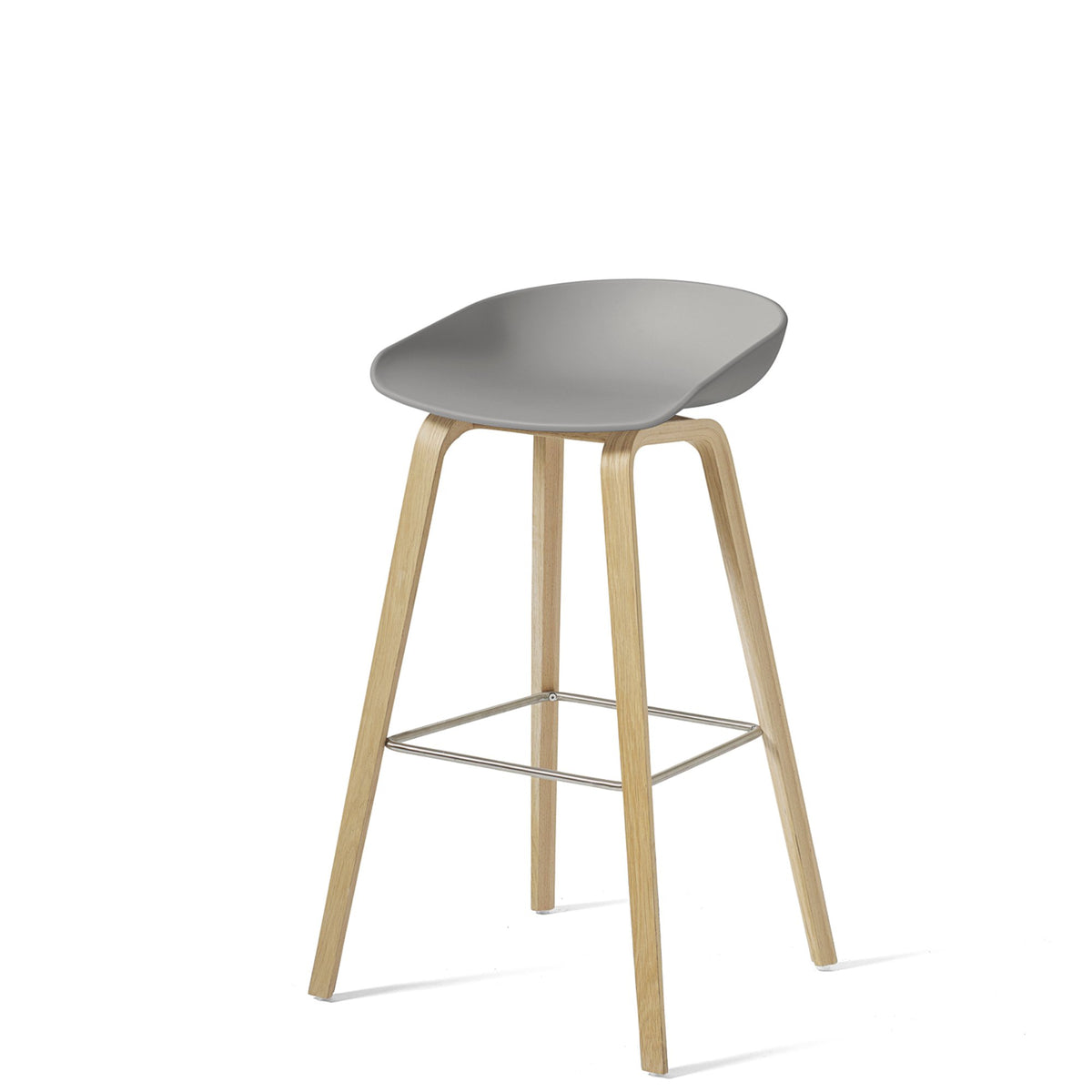 HAY About A Stool AAS32 850mm Concrete Grey Matt Lacquered Oak Base