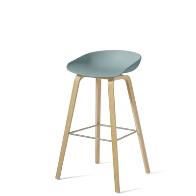 HAY About A Stool AAS32 850mm Dusty Blue Matt Lacquered Oak Base