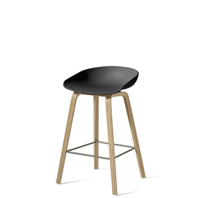 HAY About A Stool AAS32 750mm Soft Black with Matt Lacquered Oak Base
