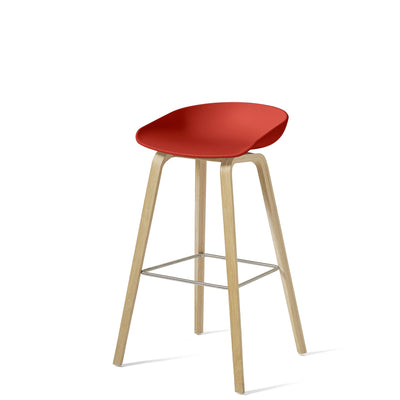HAY About A Stool AAS32 850mm Warm Red Matt Lacquered Oak Base