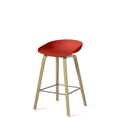 HAY About A Stool AAS32 750mm Warm Red with Matt Lacquered Oak Base