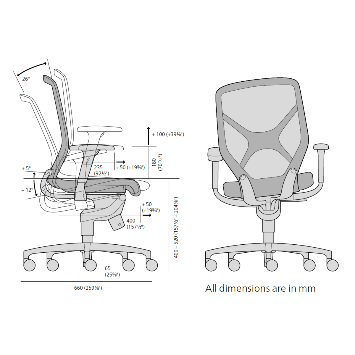 Dimensions for Wilkhahn Office IN Task Chair with Trimension®