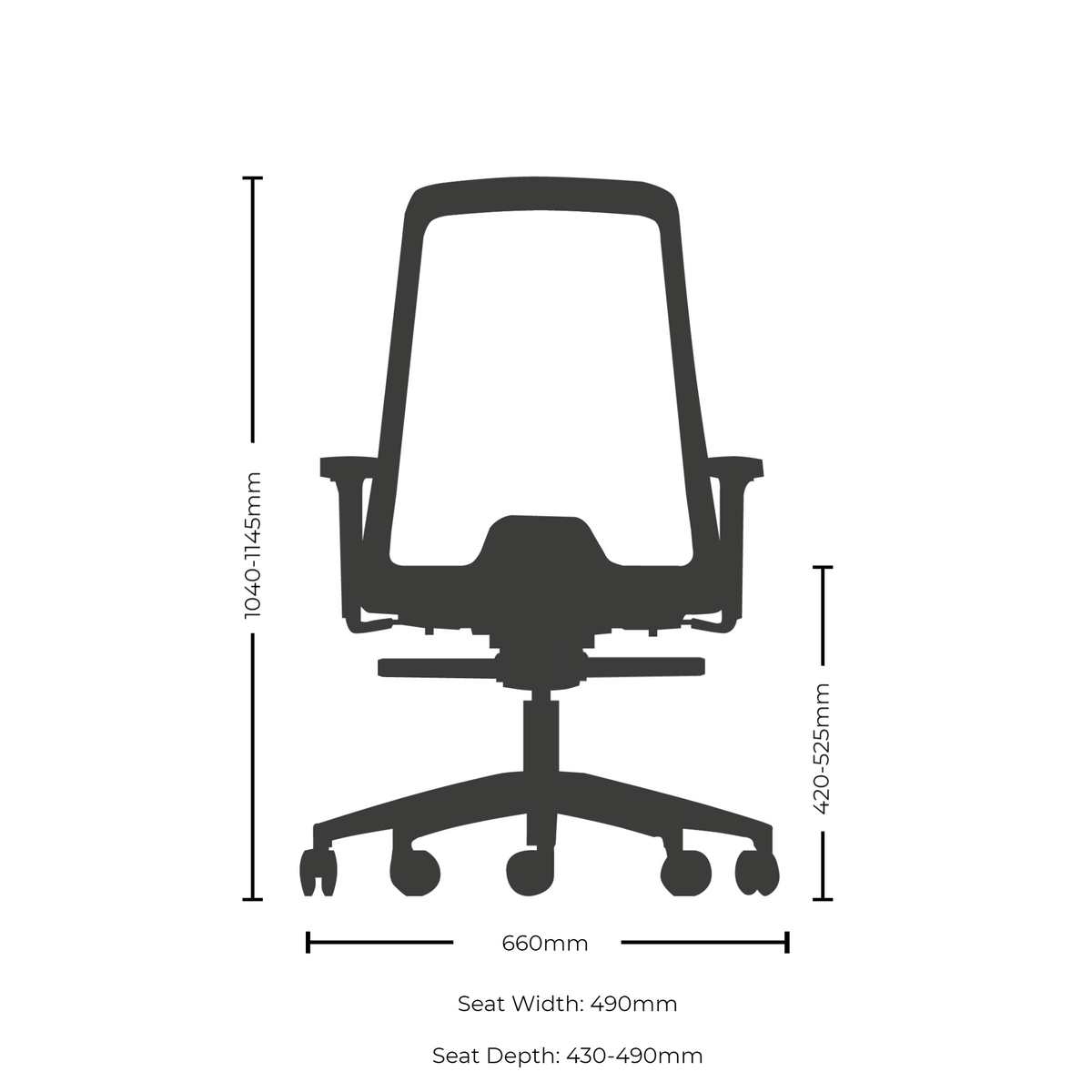Dimensions for Interstuhl EVERYIS1 Office Task Chair 142E