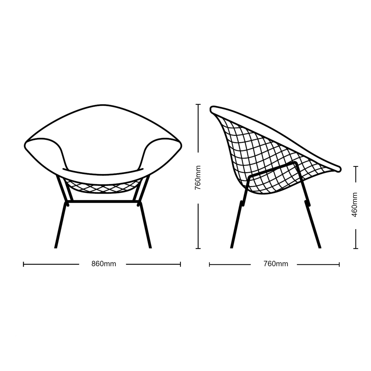 Bertoia Diamond Lounge Chair Upholstered