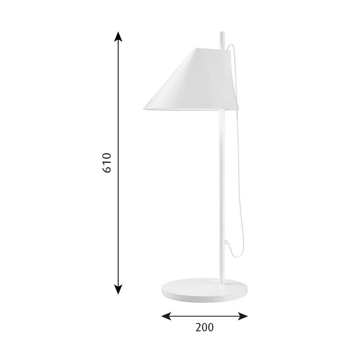 Dimensions for Louis Poulsen Office YUH Table Lamp by GamFratesi