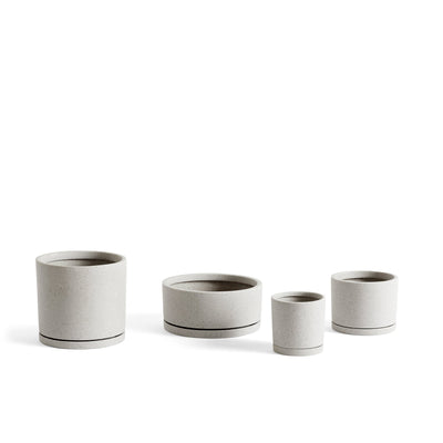 HAY Office Packs of Plant Pots with Matching Saucers Grey