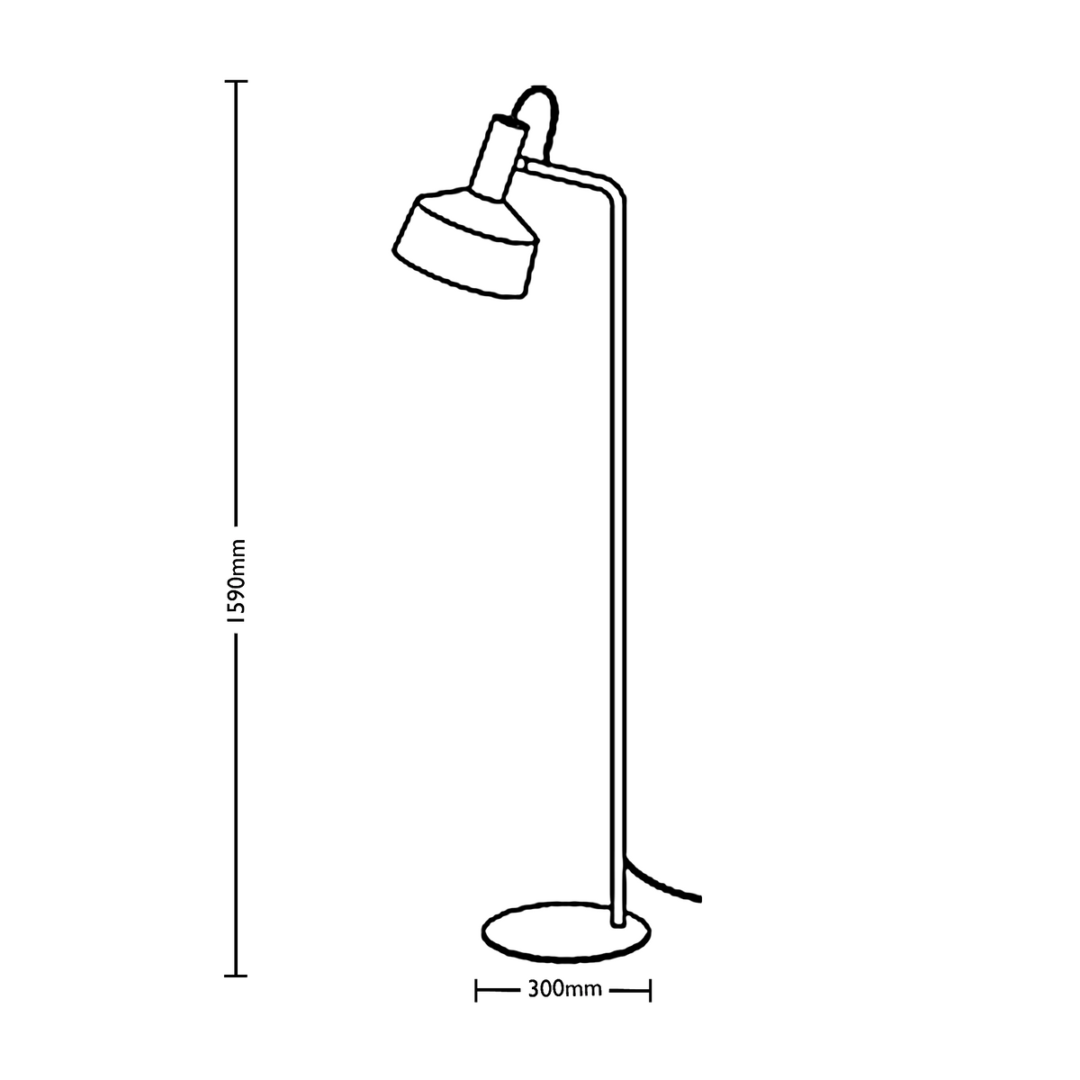 Dimensions for Wever&Ducre Office Roomor Floor Lamp