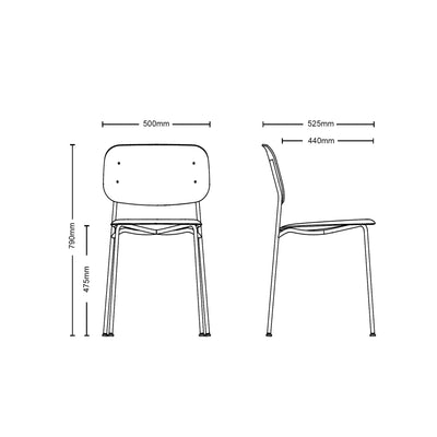 Dimensions for HAY Pair of Soft Edge P10 Stackable Chairs