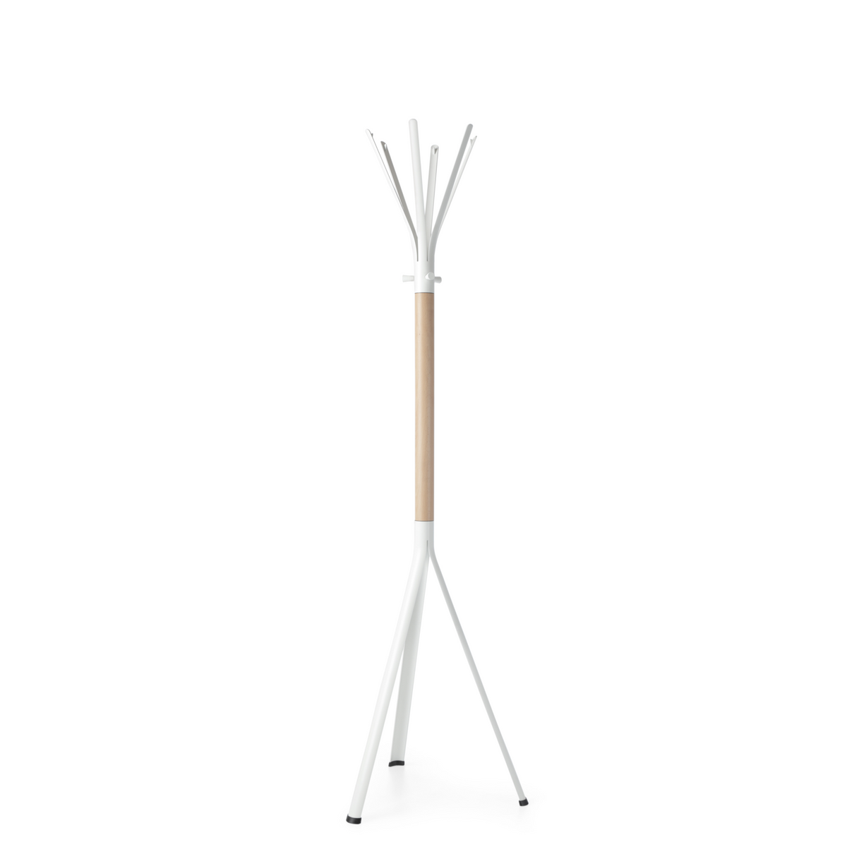 Spacestor Office Nine Coat Stand White with Beech Column