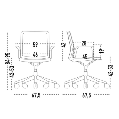 Dimensions for Actiu Office Urban Plus 50 Chair