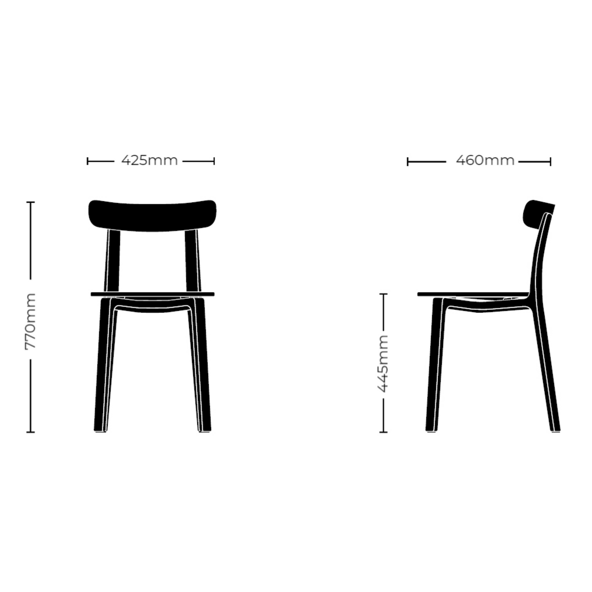 Dimensions for Vitra Office All Plastic Chair by Jasper Morrison