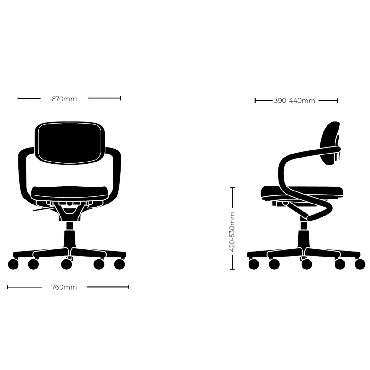 Dimensions for Vitra Office Allstar Office Task Chair