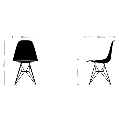 Dimensions for Vitra Eames DSW Plastic Side Chair Seating