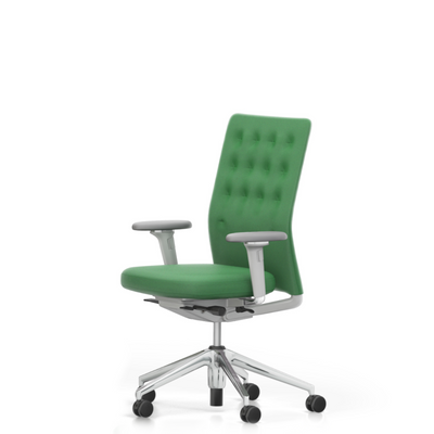 Vitra Office Task Chair ID Trim by Antonio Citterio Polished Aluminium Base Classic Green