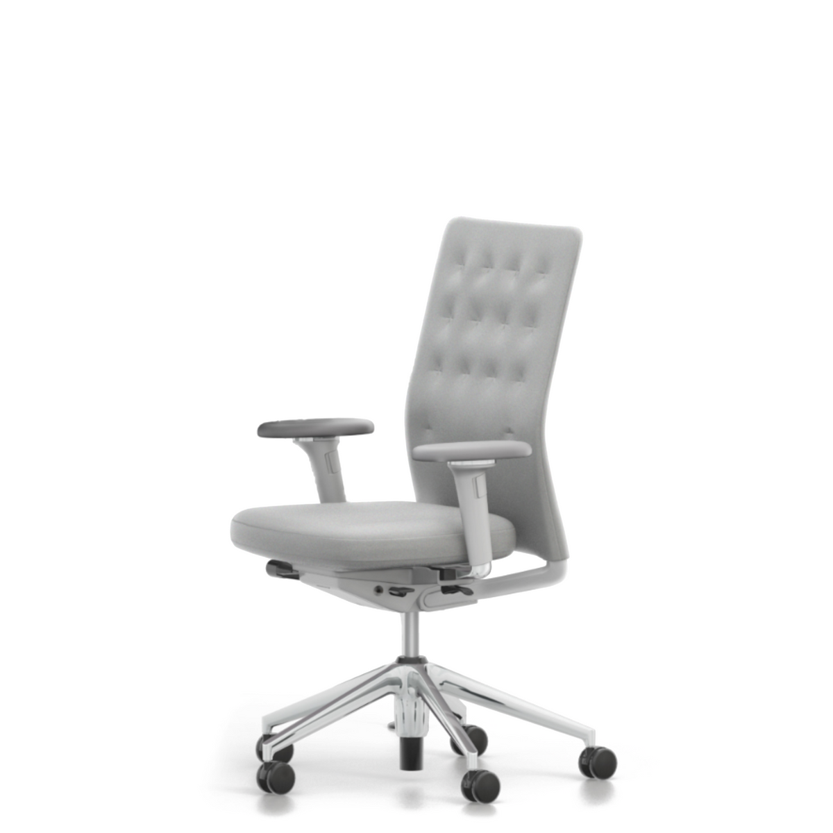 Vitra Office Task Chair ID Trim by Antonio Citterio Polished Aluminium Base Light Grey