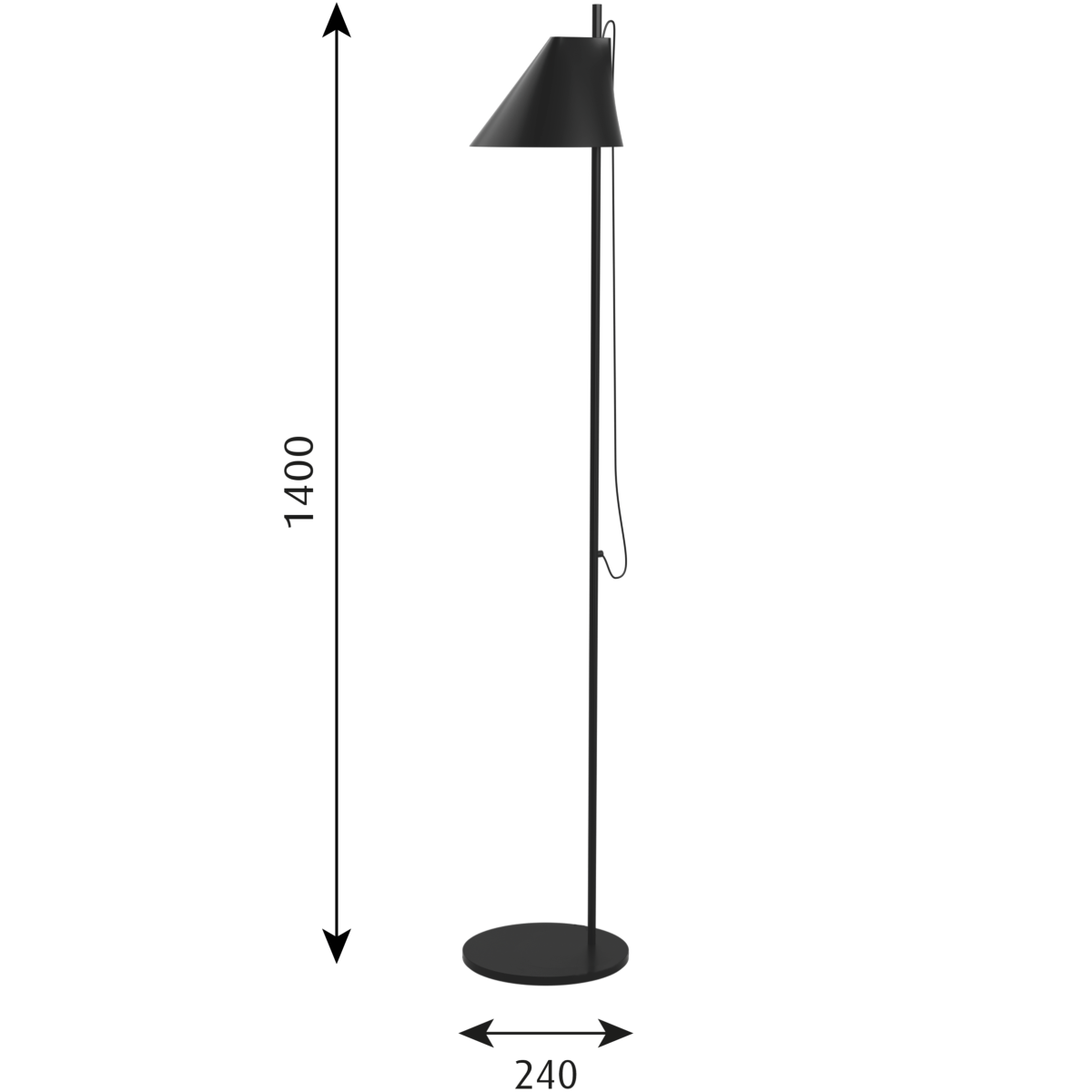 Dimensions for Louis Poulsen Office YUH Floor Lamp by GamFratesi