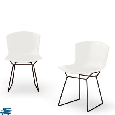 Knoll Bertoia Plastic Side Chair Pair White with Jet Black 9005 Base