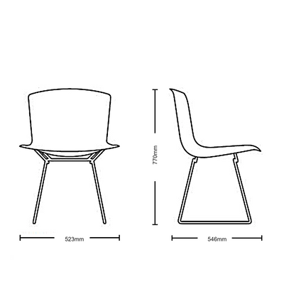Dimensions for Knoll Bertoia Plastic Side Chair Pair