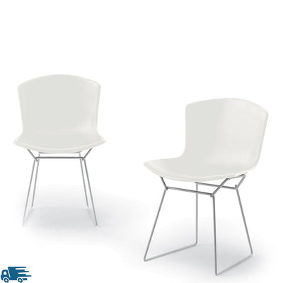 Knoll Bertoia Plastic Side Chair Pair White with Chrome Base