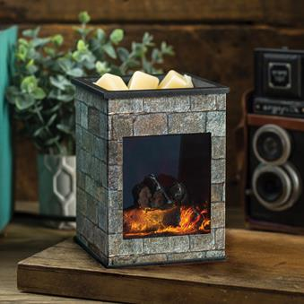 Hearthstone Aroma Lamp with Artificial Fireplace Effect - Electric Wax Warmer / Melter