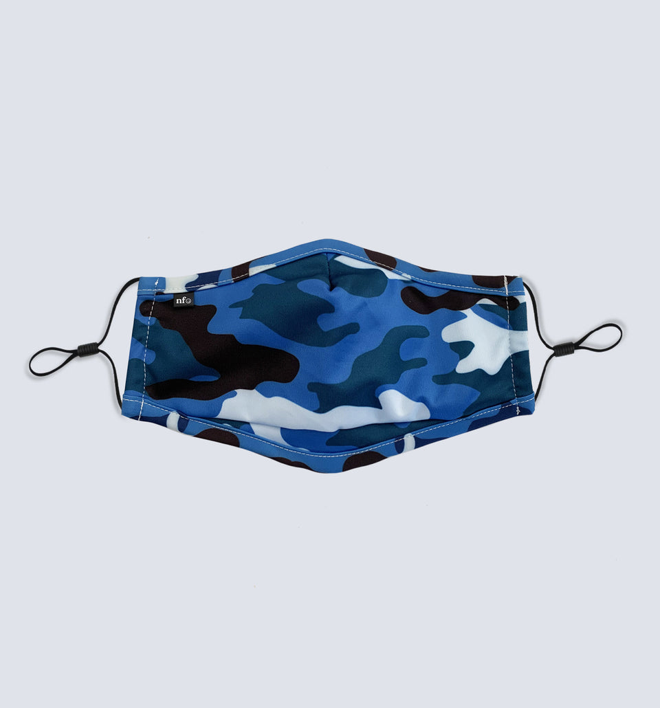 Kids Blue Camo Face Mask - NiiceFace