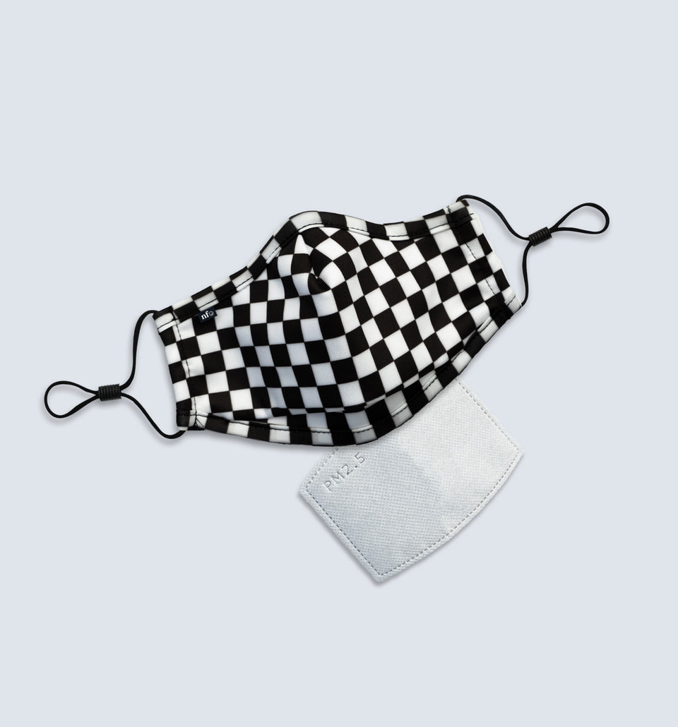 Kids Black Checkerboard Face Mask - NiiceFace