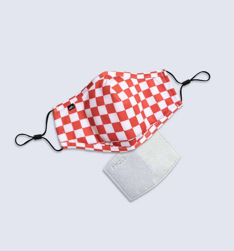 Kids Red Checkerboard Face Mask - NiiceFace
